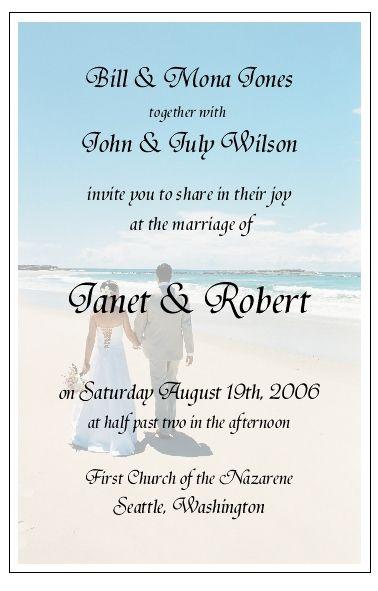 Beach Wedding Invitation Wording