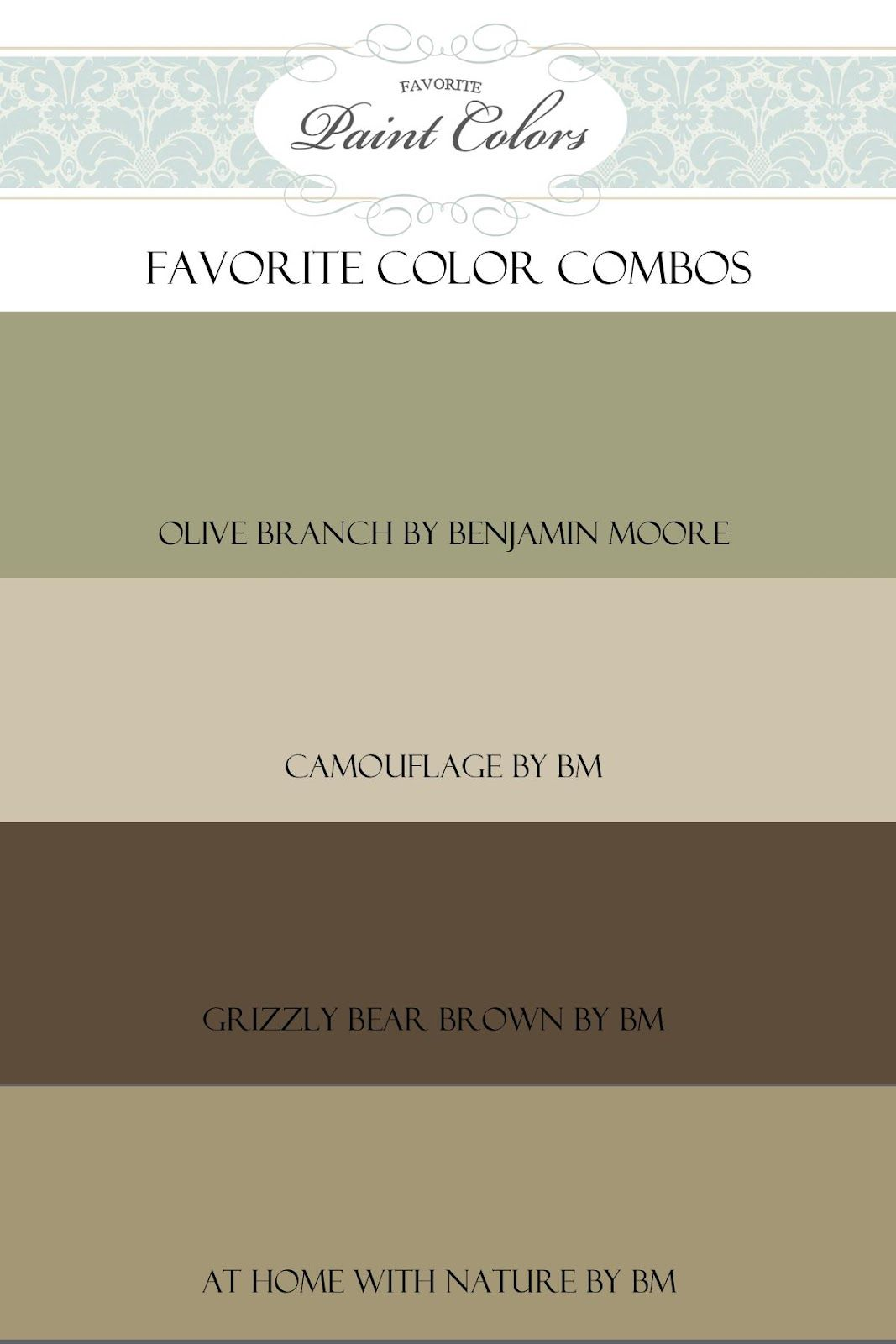 I Had An E Mail Recently Asking For A Color Pallette To Go With Benjamin Moore S Olive Branch Here Are Few Of My Favorites Remember That Every Computer