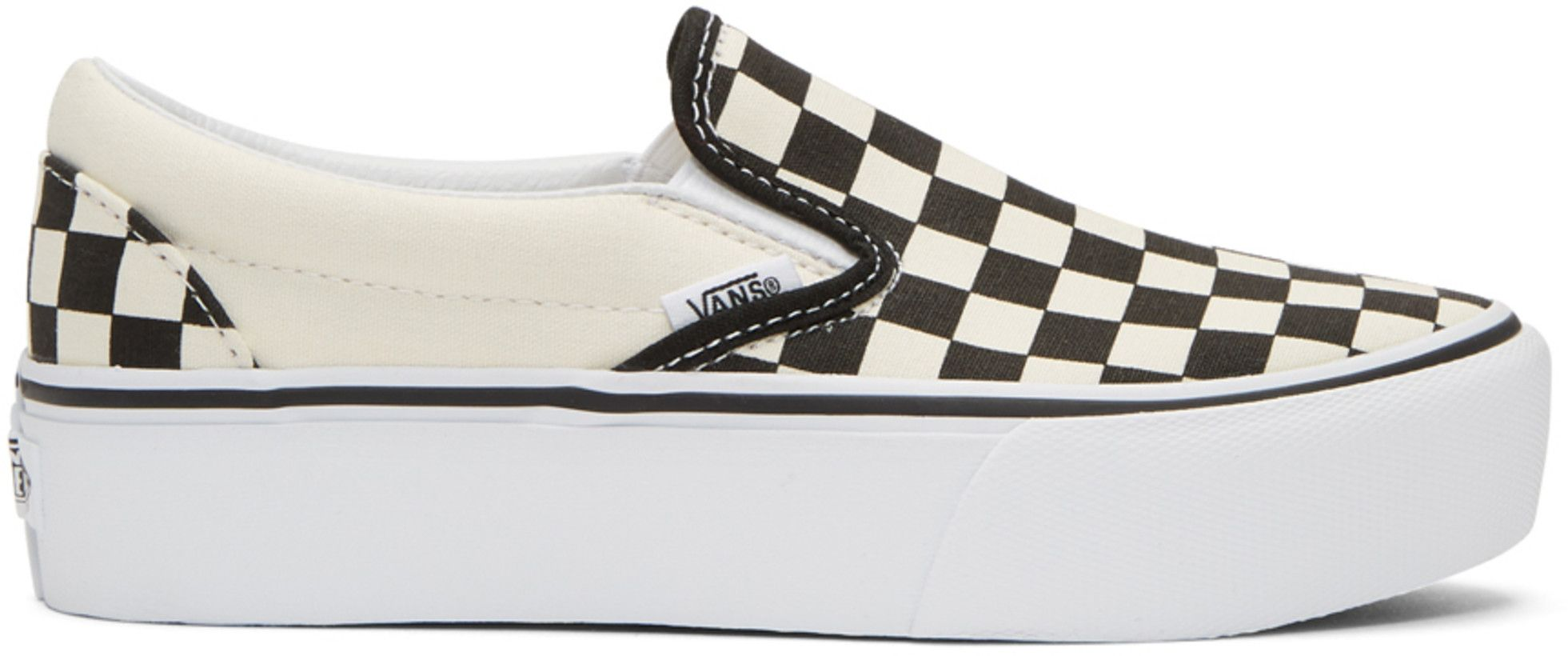 e51f3ff5d9 Vans - Off-White   Black Checkerboard Classic Slip-On Platform Sneakers