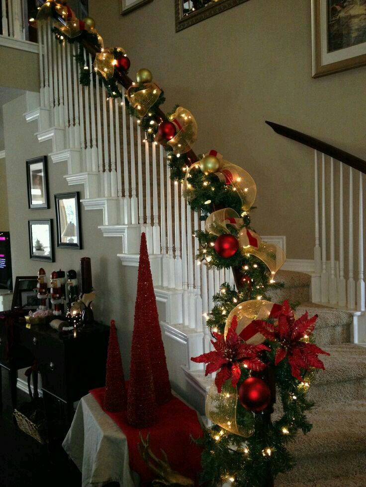 Stairway garland decor Christmas house decor Christmas