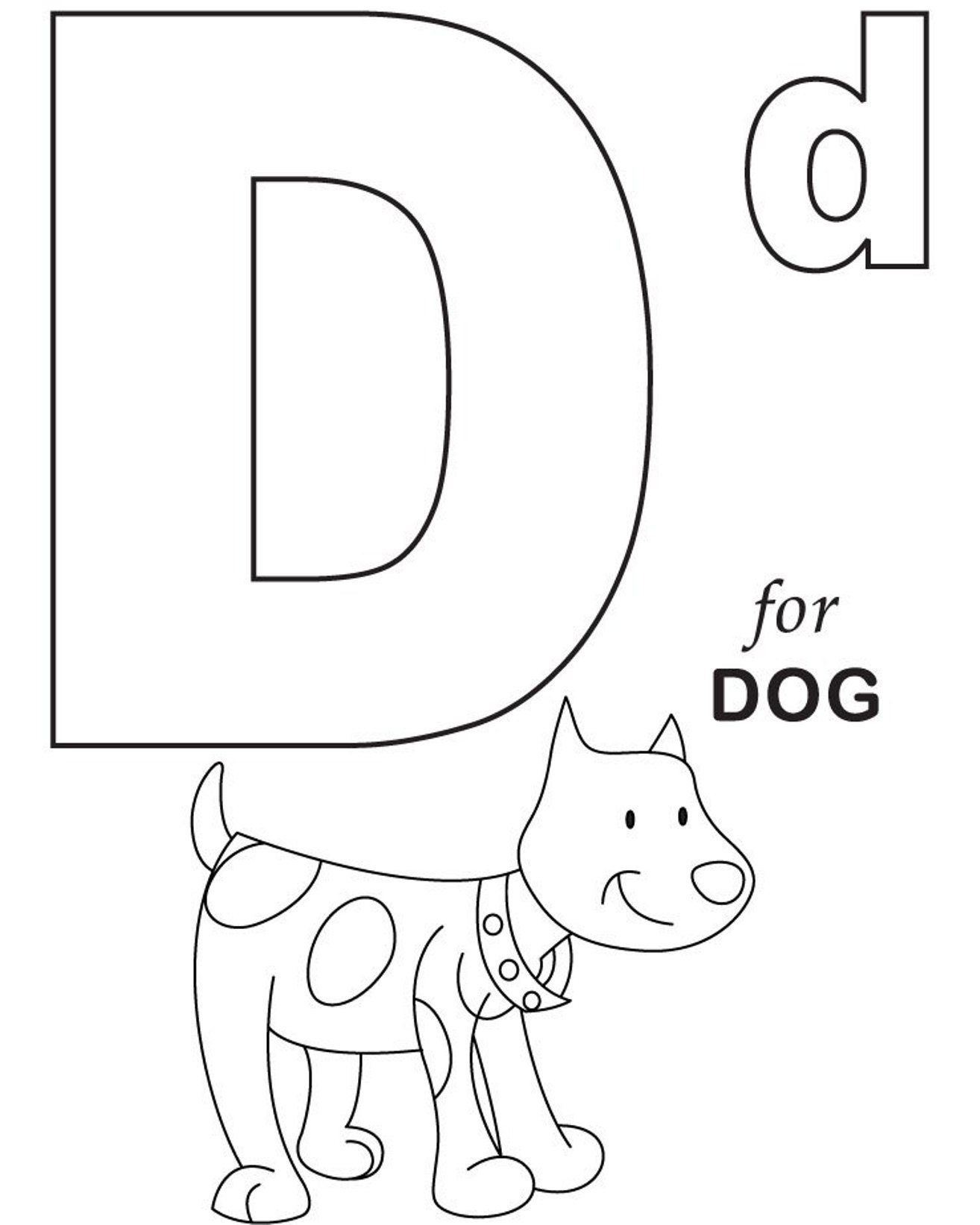 Alphabet Coloring D For Dog Printable Alphabet Coloring