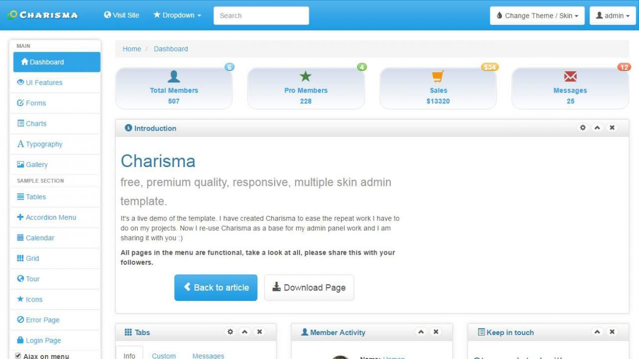 Charisma is another free high quality HTML5 admin template hosted ...