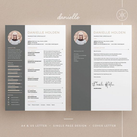 Danielle Resume Cv Template Word Photoshop Indesign Professional Resume Design Cover Letter I Resume Design Cv Template Word Resume Design Creative
