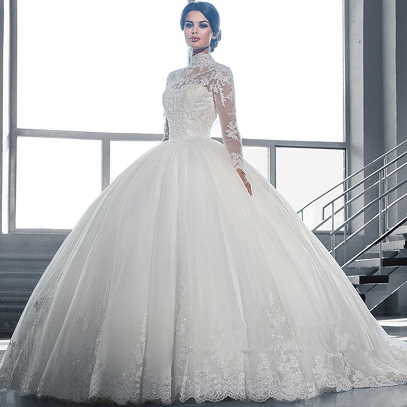 beautiful white ball gown wedding dress lace sheer neckline long sleeve tulle wedding dress vestidos de