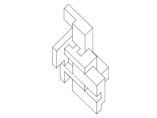 Axonometric Drawing Of Open Cube