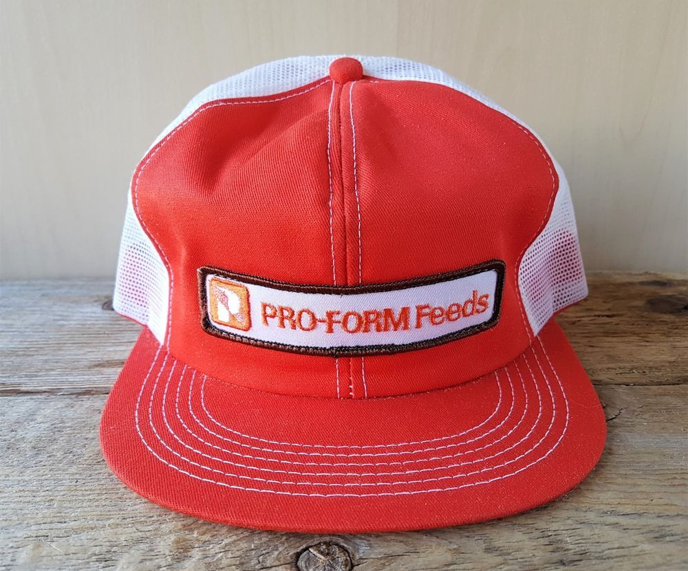 1c38008da4b8f Vintage 80s PRO-FORM FEEDS Farming Mesh Orange Trucker Hat Snapback Cap K- Brand