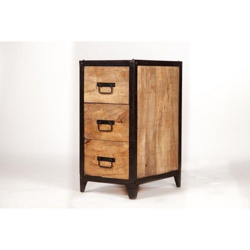 Meuble bois métal 3 tiroirs