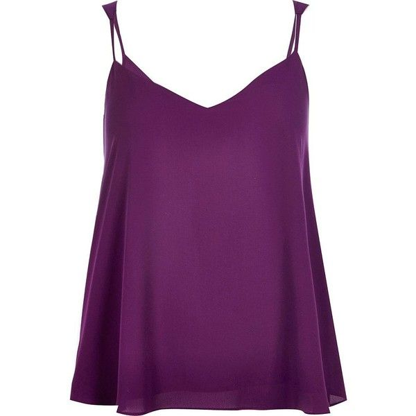 River Island Purple V-neck cami top ($32) ❤ liked on Polyvore featuring tops, shirts, tank tops, blusa, purple, cami / sleeveless tops, women, v-neck shirts, tall shirts and sleeveless tops