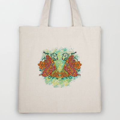 Tie Dyed Butterfly Tote Bag by Jan M DeAngelis - $18.00