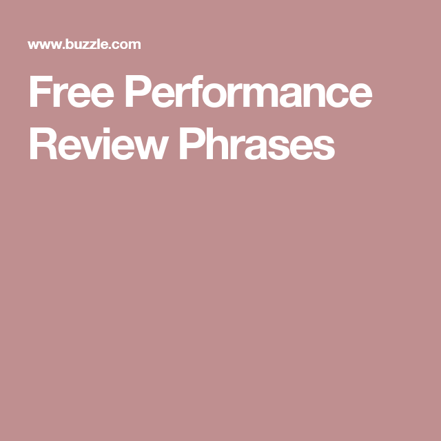 Free Performance Review Phrases  Free Employee Appreciation And