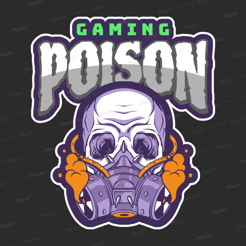 Placeit Gaming Logo Maker Featuring a Skull with a Gas