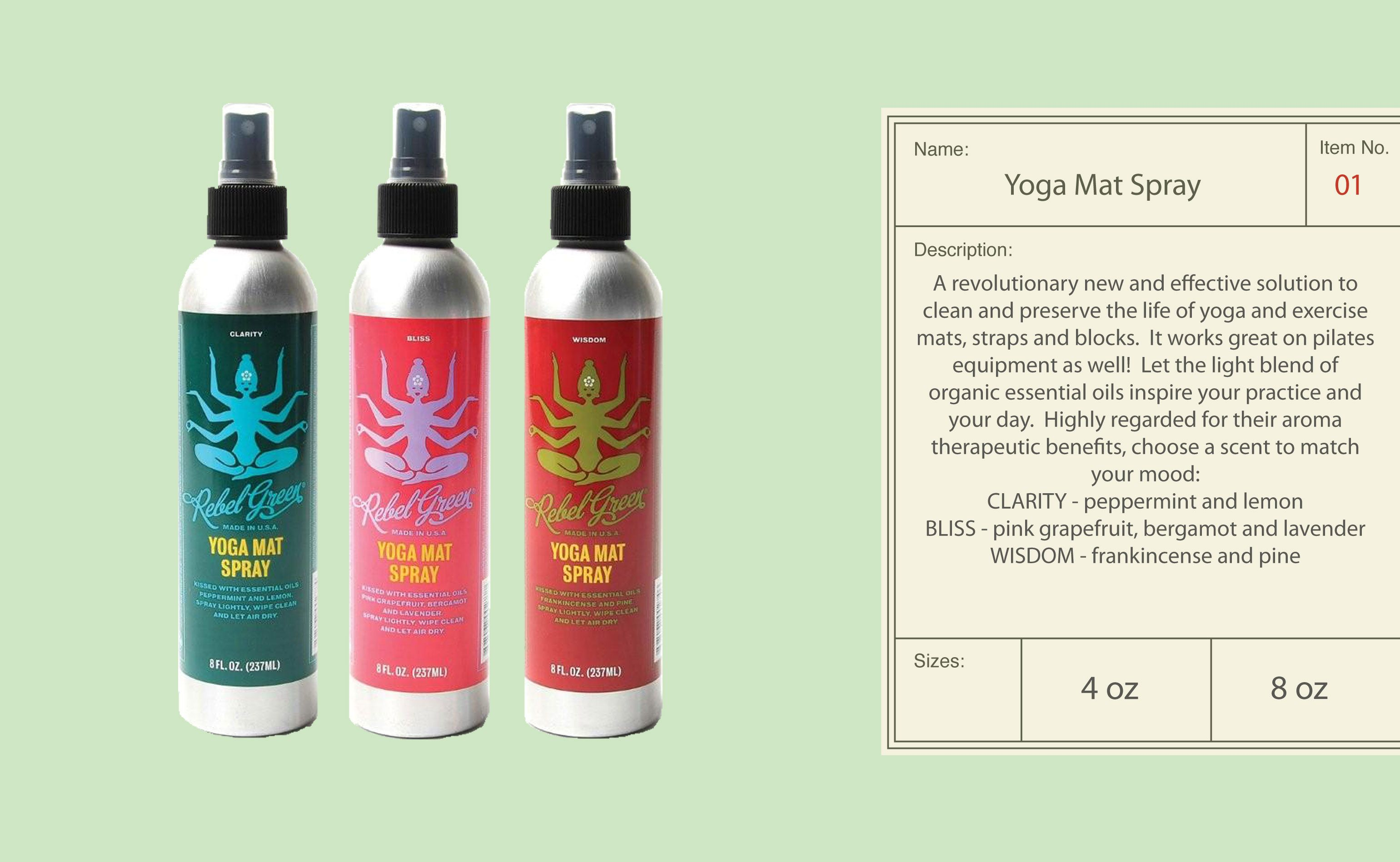Great yoga mat spray that helps to clean your mat