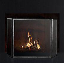 Courchevel Tri-Panel Glass Fireplace Screen