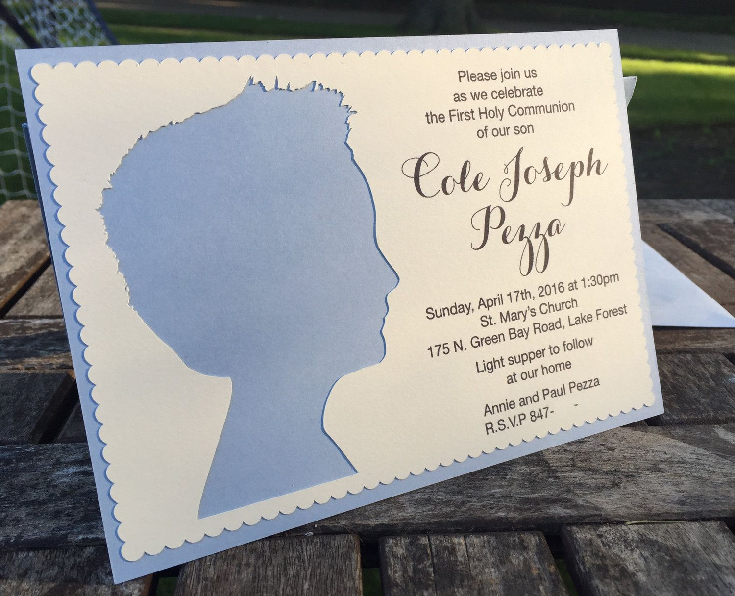 Custom silhouette first communion invitation with images