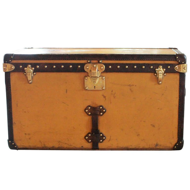 Louis Vuitton Yellow Canvas Shoe Trunk circa Early 20th Century is part of Yellow Home Accessories Shops -