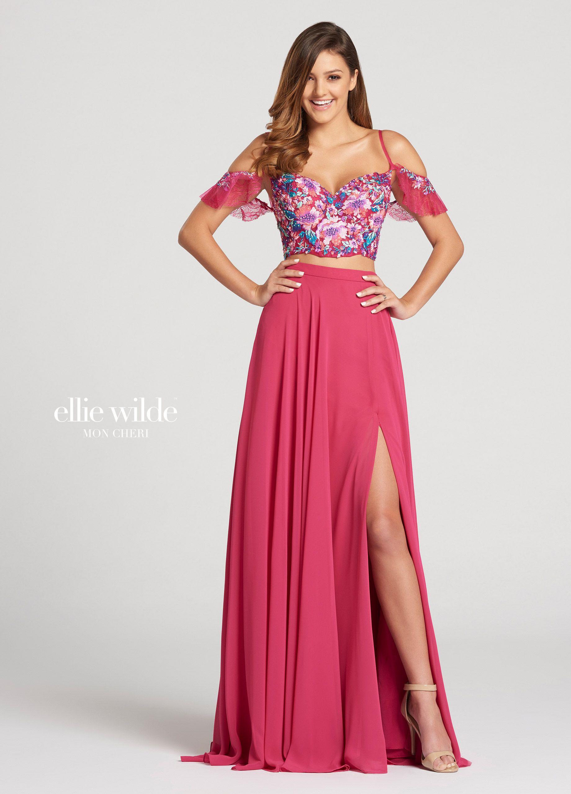 0f23af2e7ea Ellie Wilde EW118103 - Two-piece off-the-shoulder chiffon and embroidered  lace slim A-line dress with sweetheart neckline. Bodice has scalloped  cropped edge ...