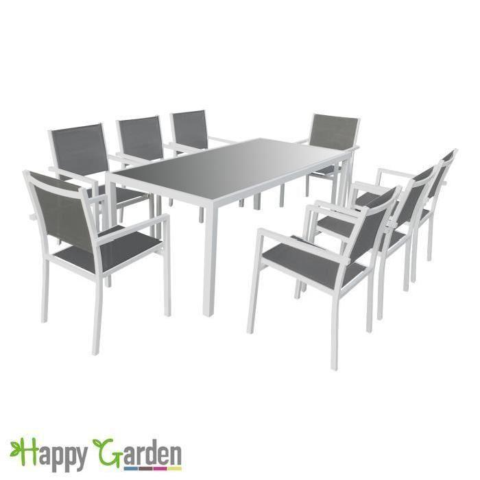 Salon de jardin BARI en textilène gris 8 places - aluminium blanc ...