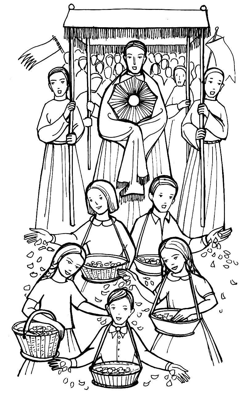 corpus christi procession catholic coloring page | catholic ... - Coloring Pages Catholic Sacraments