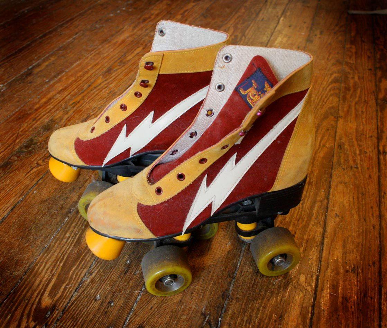 Roller skating vaughan - Vintage Lightning Bolt Roller Skates