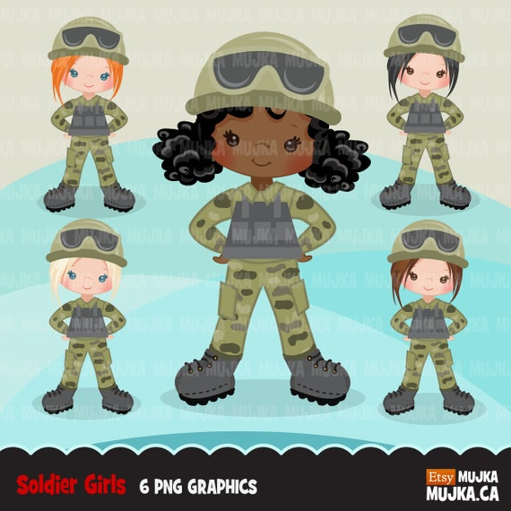 Female Soldier Army Clipart Little Soldier Patriot Girl Etsy Female Soldier Clip Art Soldier