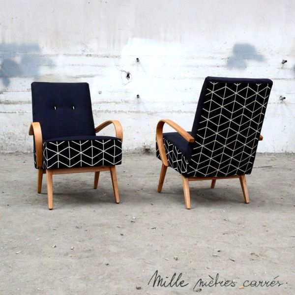 Fauteuil vintage des années 60 noir géométrique - Mille m2
