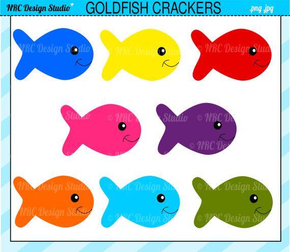 Cute Fish Clip Art - Goldfish Crackers Clip Art - Digital Fish ...