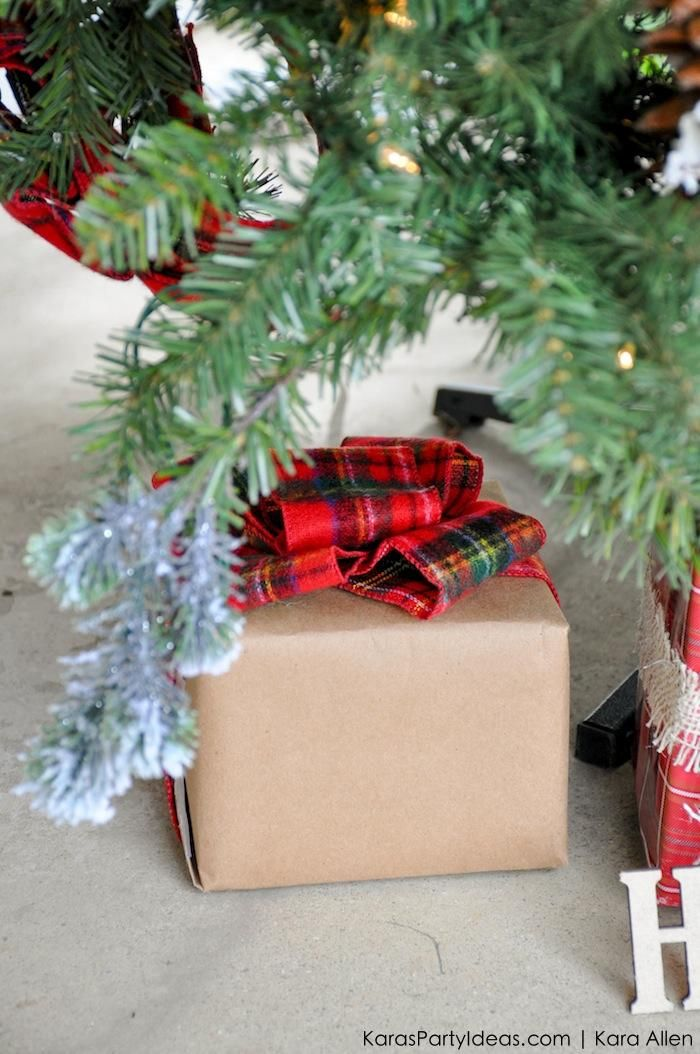 Plaid ribbon wrapped gift under a Rustic