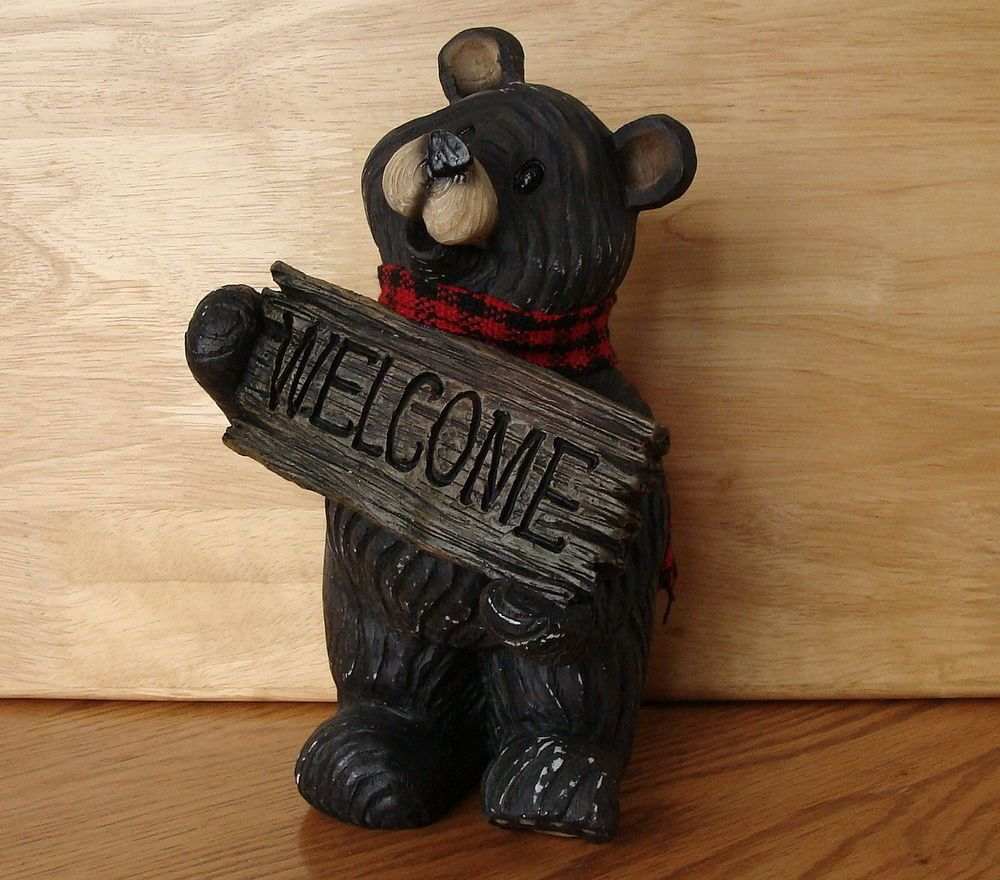 Black Bear Welcome Sign Statue Cabin Rustic Lodge Decor