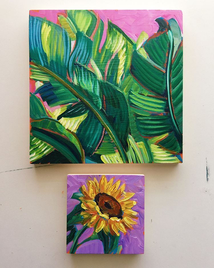 Happy Monday The 8x8inch Painting On The Top Took Me About Three Weeks On And Off To Complete The Little Sunflower Painting Floral Painting Small Paintings