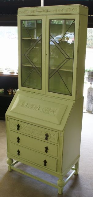 Oak Leaded Glass Door Secretary Desk Secretary Desks Leaded Glass Door Painted Secretary Desks