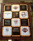 Custom made Harley Davidson quilt made and donated to Jacox Harley Davidson in Mississauga for their Annual Silent Auction and BBQ with all the proceeds donated to Make a Wish Foundation.
