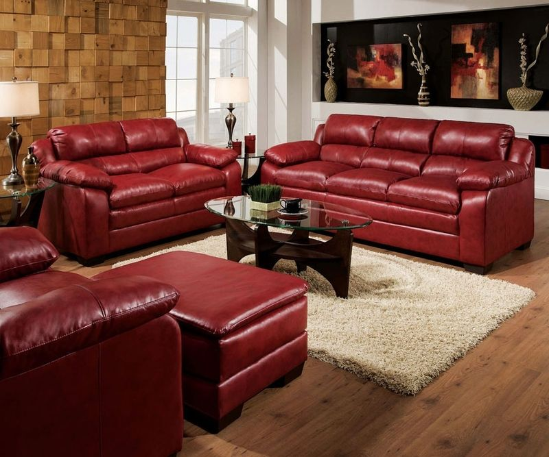 Acme Modern Burgundy Leather Tufted Sofa Couch Loveseat