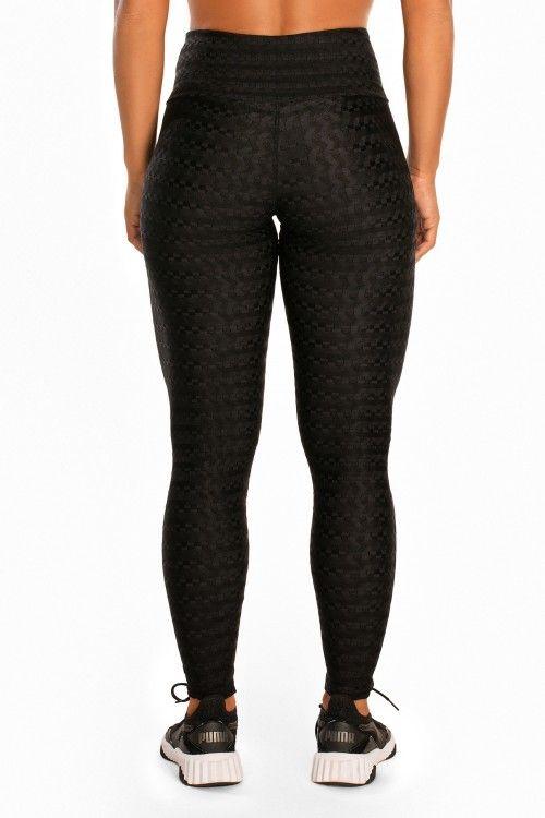 Legging Giving Up em Cirrê e Textura com Estampa Emborrachada - Donna Carioca - Moda fitness com preço de fábrica
