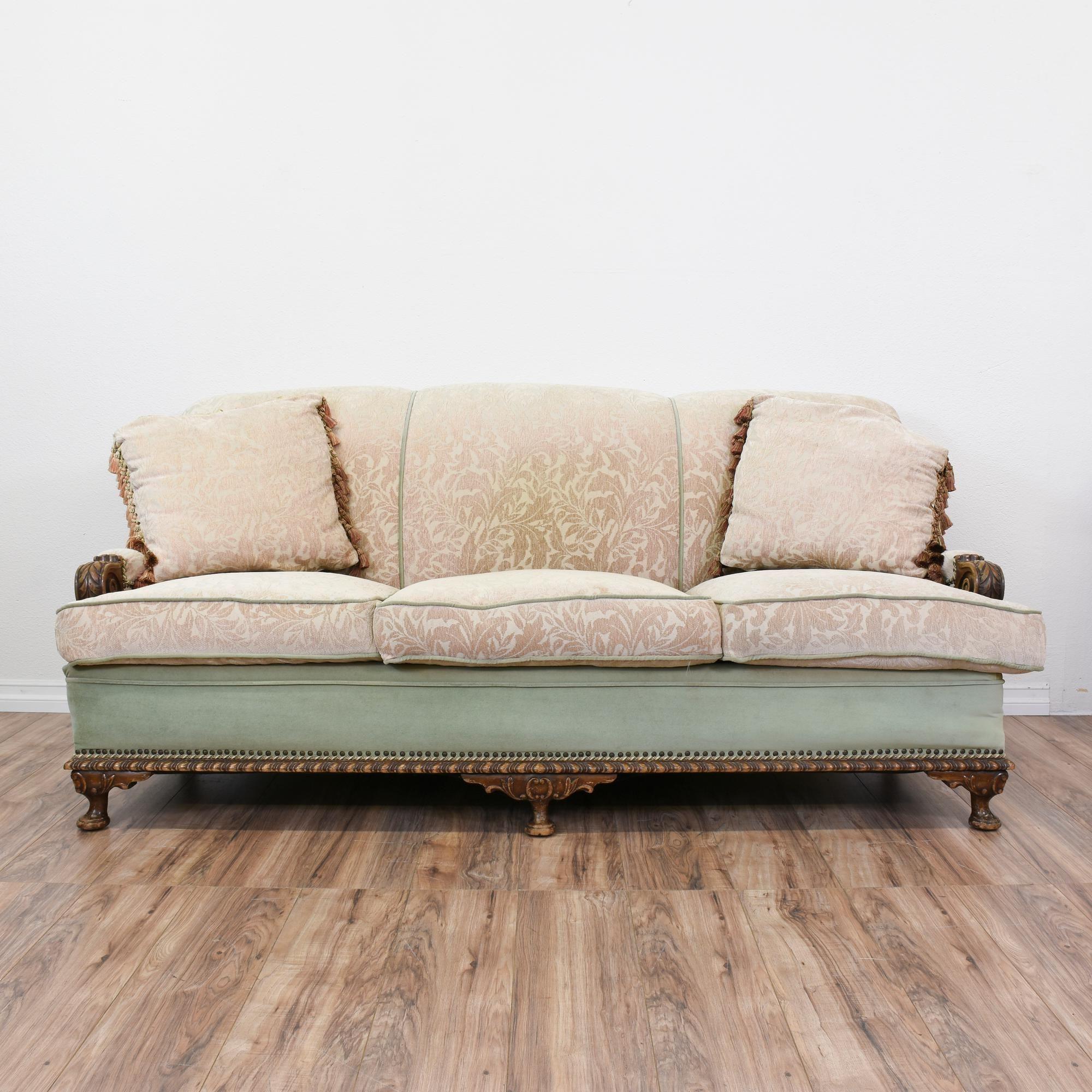 Best Blue Beige Brocade Upholstered Carved Sofa Vintage 400 x 300