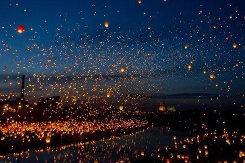 11,000 paper lanterns float into the night sky - Poznan, Poland.