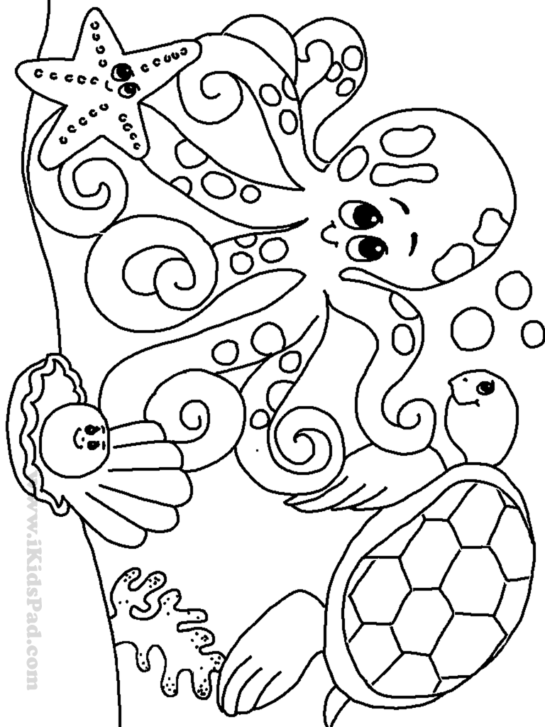 free online ocean animals coloring pages for kids - Ocean Animals Coloring Pages
