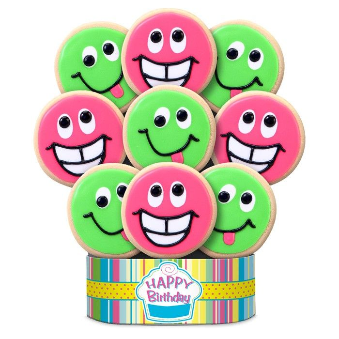 Corsos Cookies Funny Faces Birthday Decorated Cookie Bouquet