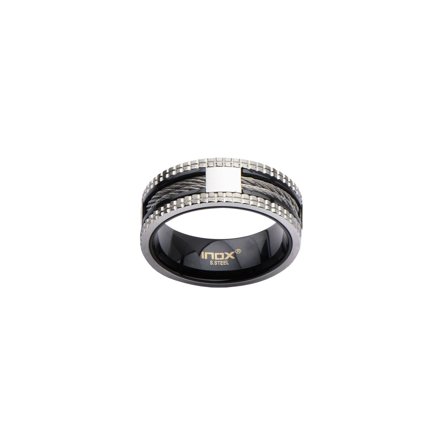 Black IP Ring with Steel Grid Groove on Sides and Cable Inlayed