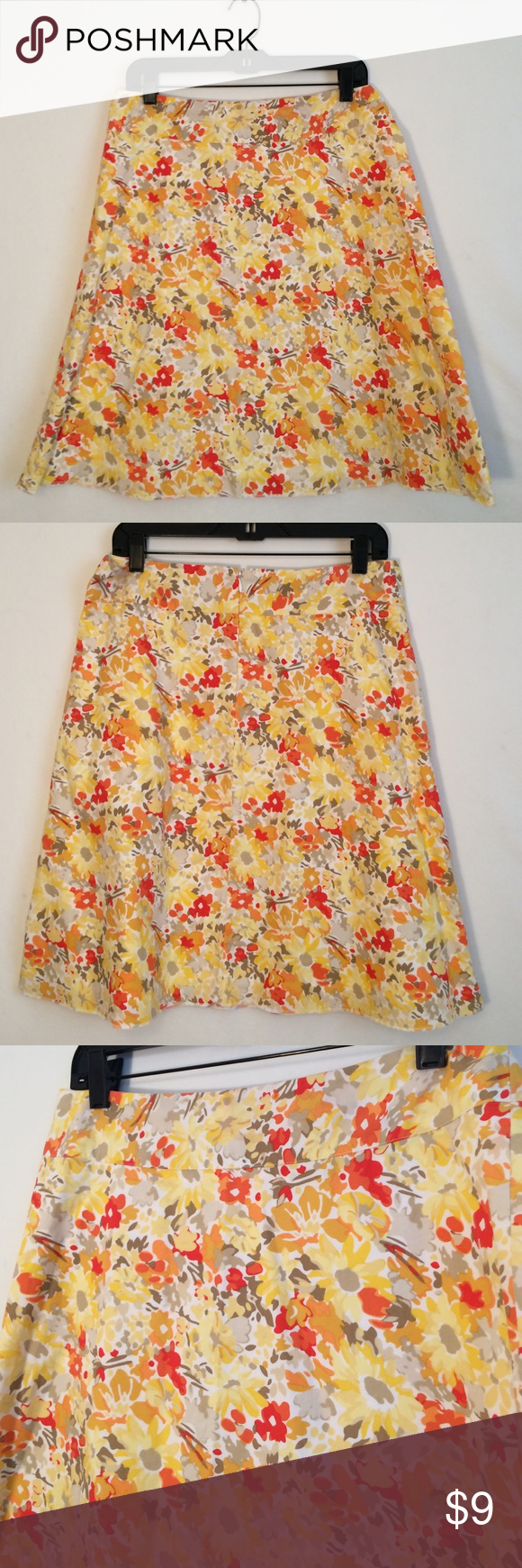 """Express sz 8 Yellow Flower Aline Skirt Express size 8 yellow flower Aline skirt ...22"""" top to bottom... BUNDLE AND SAVE$$& Express Skirts A-Line or Full"""