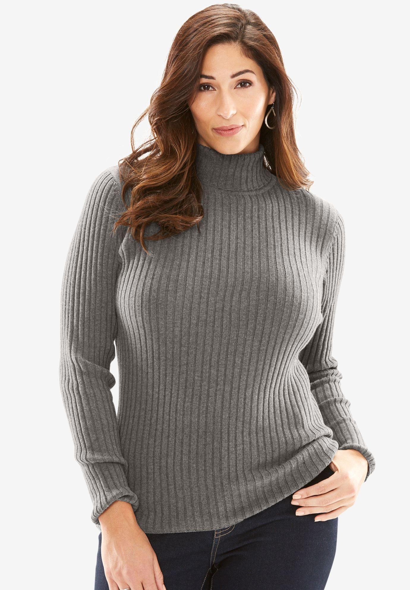 b530af9abe Turtleneck Sweater with Ribbing - Women s Plus Size Clothing ...