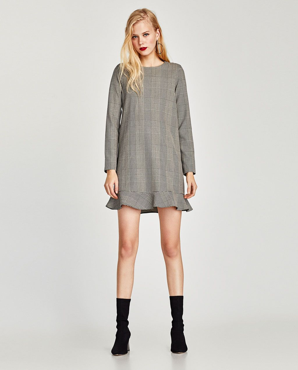 eeb88a4e Image 1 of CHECKED LONG SLEEVE DRESS from Zara Winter Fashion Outfits, Zara  Women,