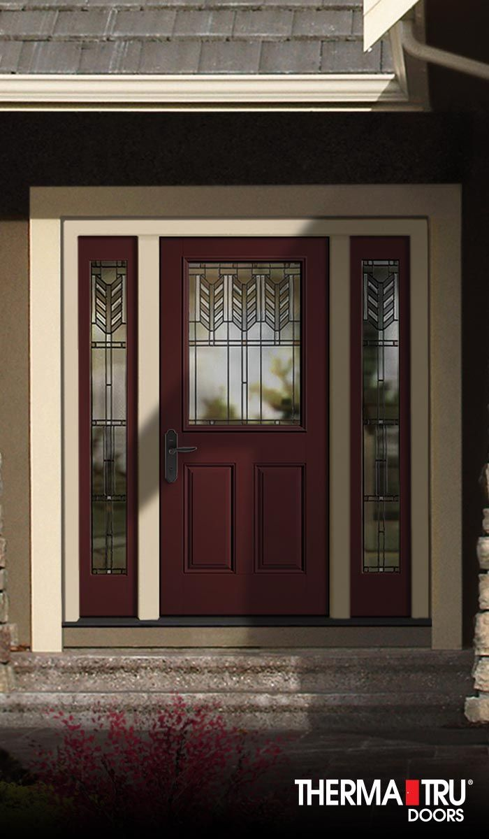 Therma tru classic craft canvas collection fiberglass door for Decorative entrance doors