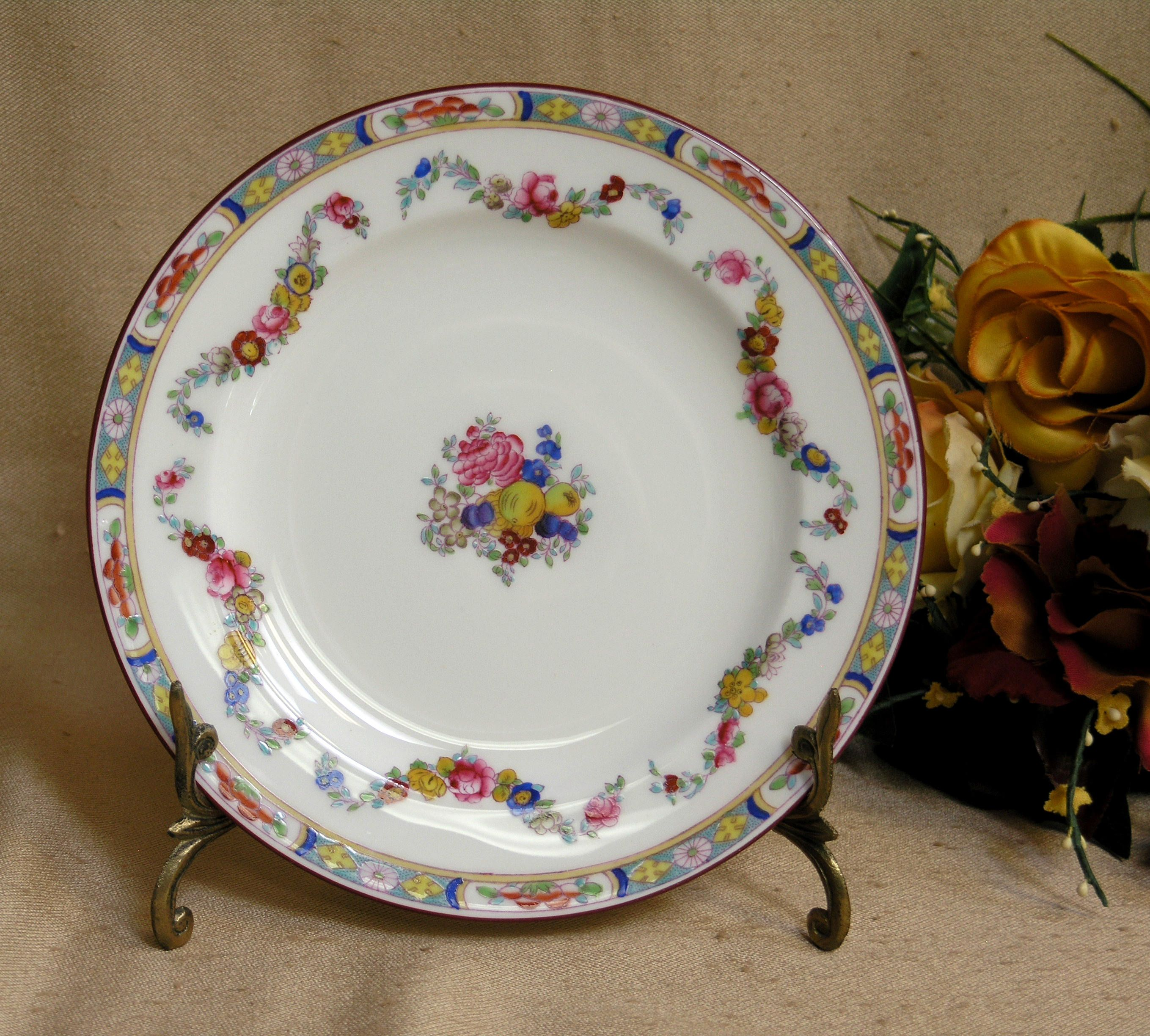 Antique Minton Rose Bone China Dinnerware One (1) Salad Plate Older Globe St& c & Antique Minton Rose Bone China Dinnerware One (1) Salad Plate Older ...