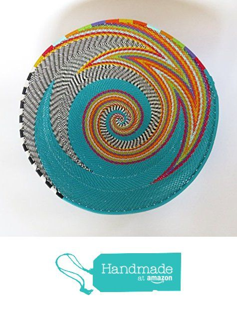 Medium round Gift from Africa Turquoise and multicolour African Zulu woven telephone wire bowl