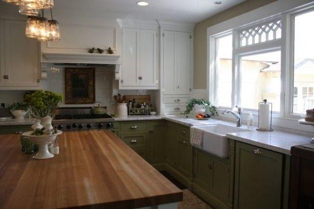 White/Green Kitchen Cabinets | Home decor | Pinterest | Hogar