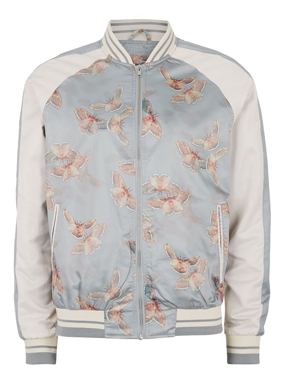 Gray and White Butterfly Print Souvenir Bomber Jacket in