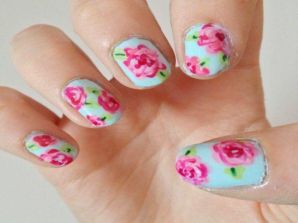 14 Beautiful Rose Nail Art Designs Green Nail Rose Nail Art And