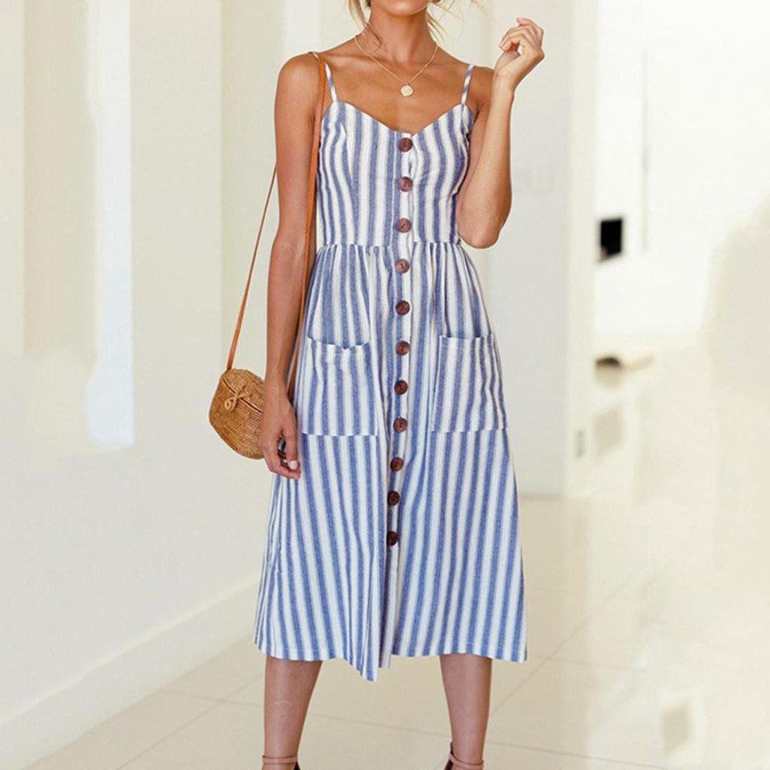 Women S Blue Shift Women Daily Elegant Half Sleeve Paneled Striped Summer Dress Striped Dress Summer Maxi Dress With Sleeves Vertical Striped Dress [ 1024 x 768 Pixel ]