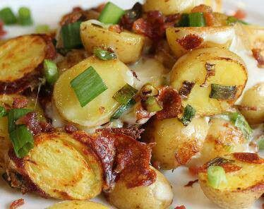 Bacon Cheese Potatoes (Slow Cooked)  *** If you would like to make these in the oven -- 400 degrees for an hour in a 9 x 13 baking dish, covered***  Ingredients  1/4 pound cooked  bacon, diced 2 medium onions, thinly sliced 4 medium potatoes, thinly sliced 1/2 pound cheddar cheese, thinly sliced salt and pepper butter Green Onions (optional)  Instructions  1. Line crockpot with foil, leaving enough to cover the potatoes when finished.  2. Layer half each of the bacon, onions, potatoes and…