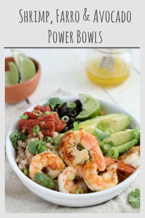Shrimp Farro And Avocado Power Bowls Recipe Seafood